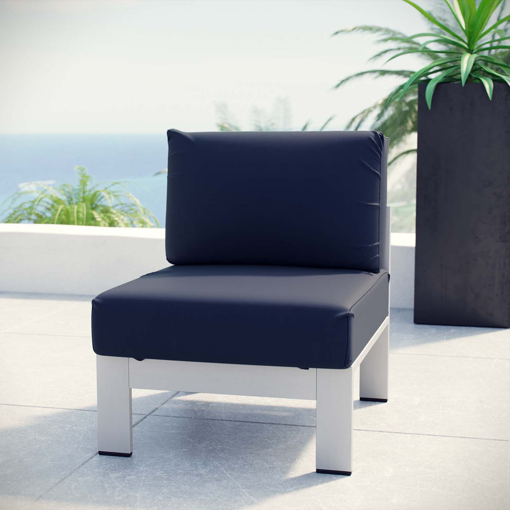Shore Armless Outdoor Patio Aluminum Chair