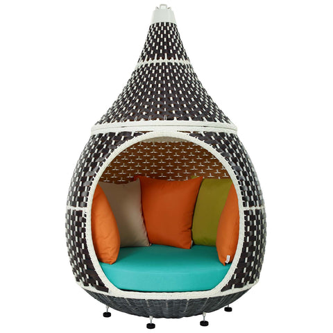 Image of Palace Outdoor Patio Wicker Rattan Hanging Pod