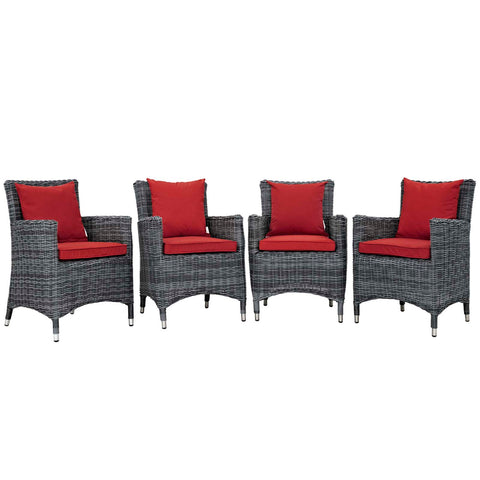 Image of Summon 4 Piece Outdoor Patio Sunbrella® Dining Set