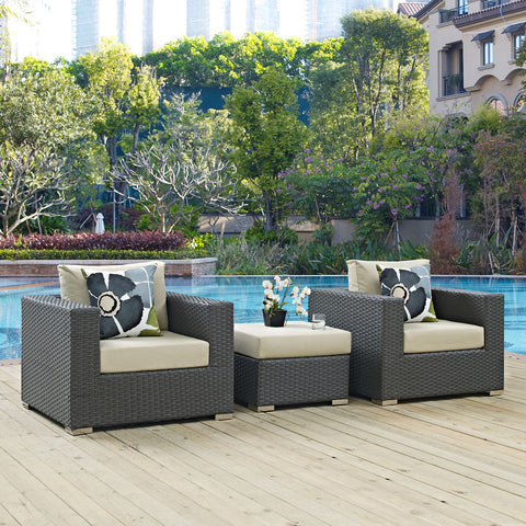 Image of Sojourn 3 Piece Outdoor Patio Sunbrella® Sectional Set