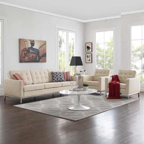 Image of Loft 3 Piece Upholstered Fabric Sofa and Armchair Set