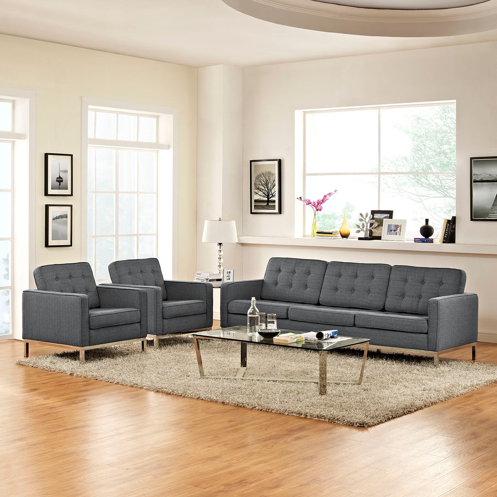 Loft 3 Piece Upholstered Fabric Sofa and Armchair Set