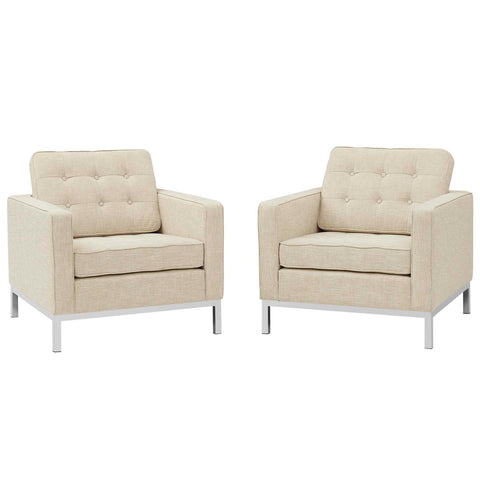 Image of Loft Armchairs Upholstered Fabric Set of 2