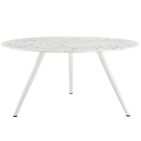 "Image of Lippa 60"" Round Artificial Marble Dining Table with Tripod Base"