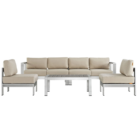 Image of Shore 5 Piece Outdoor Patio Aluminum Sectional Sofa Set