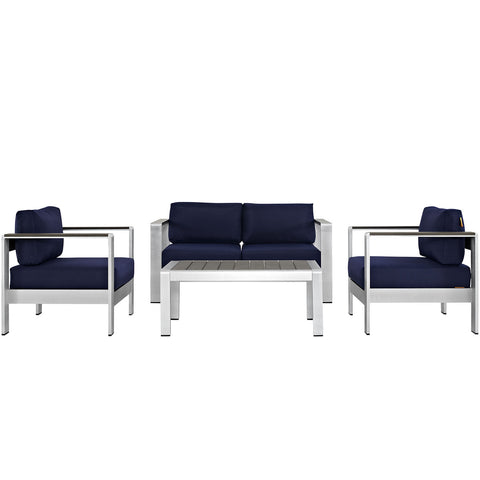 Image of Shore 4 Piece Outdoor Patio Aluminum Sectional Sofa Set