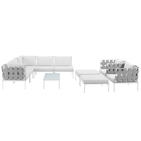 Image of Harmony 10 Piece Outdoor Patio Aluminum Sectional Sofa Set