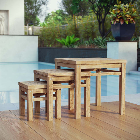 Image of Marina Outdoor Patio Teak Nesting Table