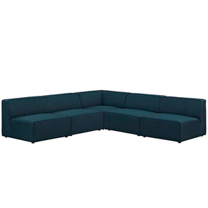 Mingle 5 Piece Upholstered Fabric Armless Sectional Sofa Set