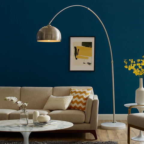 Image of Sunflower Round Marble Base Floor Lamp