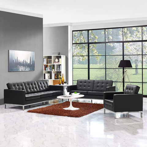 Image of Loft 3 Piece Leather Sofa Loveseat and Armchair Set