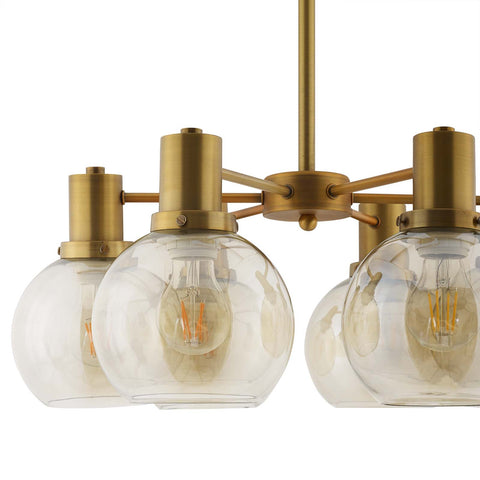 Image of Resound Amber Glass And Brass Pendant Chandelier