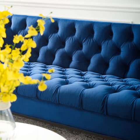Image of Delight Tufted Button Performance Velvet Sofa