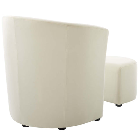 Divulge Performance Velvet Arm Chair and Ottoman Set