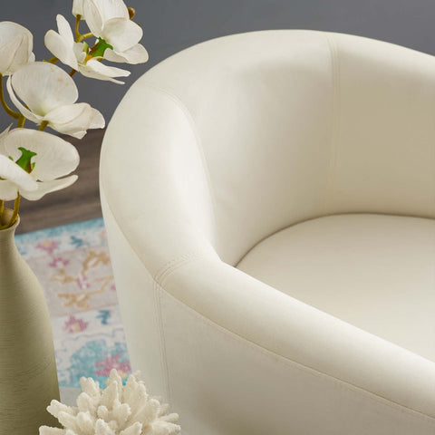 Image of Divulge Performance Velvet Arm Chair and Ottoman Set