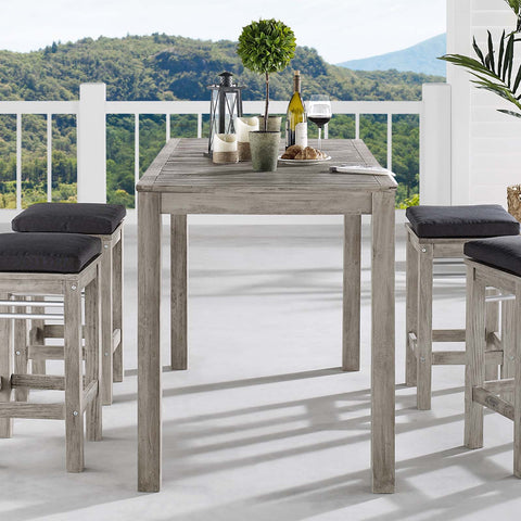 "Image of Wiscasset 59"" Outdoor Patio Acacia Wood Bar Table"