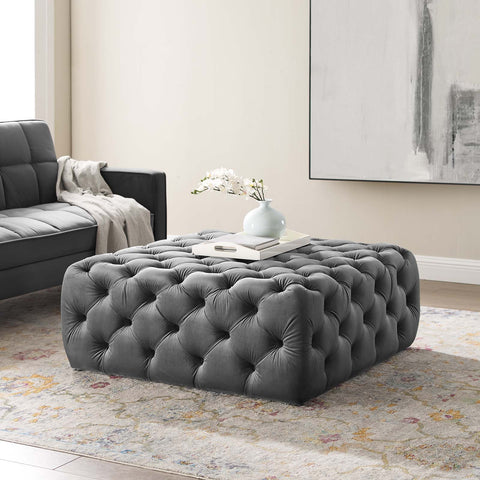 Amour Tufted Button Large Square Performance Velvet Ottoman