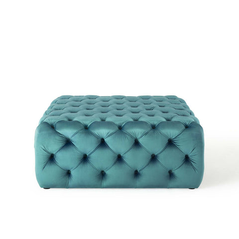 Image of Amour Tufted Button Large Square Performance Velvet Ottoman