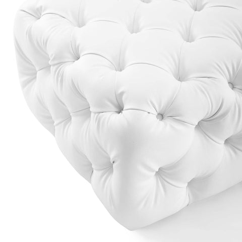 Image of Amour Tufted Button Square Faux Leather Ottoman