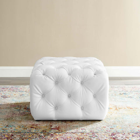 Amour Tufted Button Square Faux Leather Ottoman
