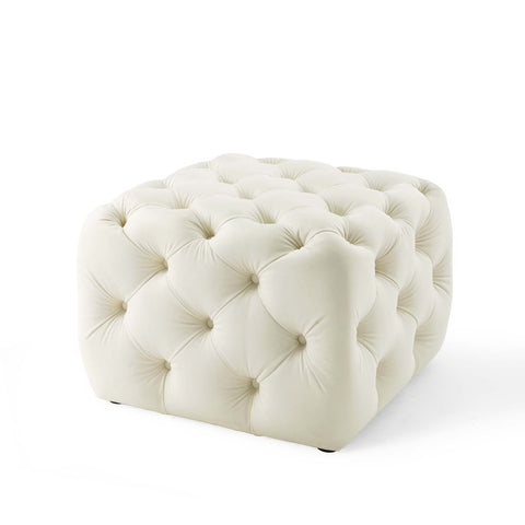 Amour Tufted Button Square Performance Velvet Ottoman