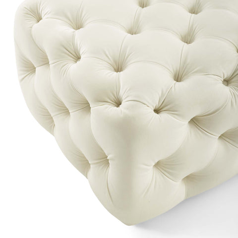Image of Amour Tufted Button Square Performance Velvet Ottoman