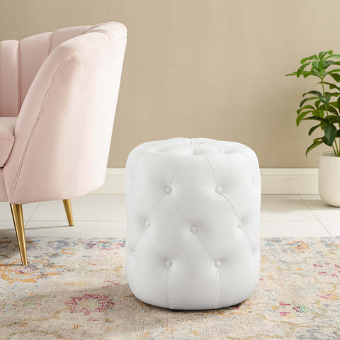 Amour Tufted Button Round Faux Leather Ottoman