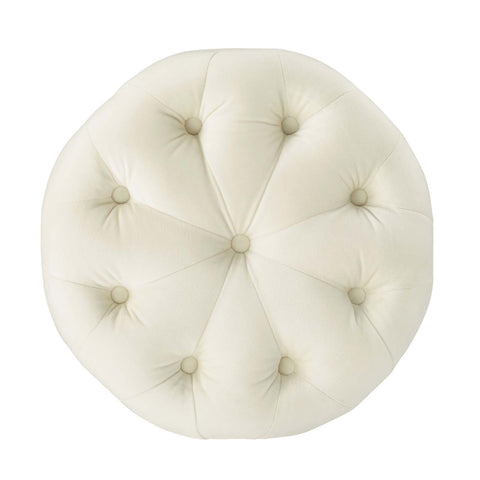 Image of Amour Tufted Button Round Performance Velvet Ottoman