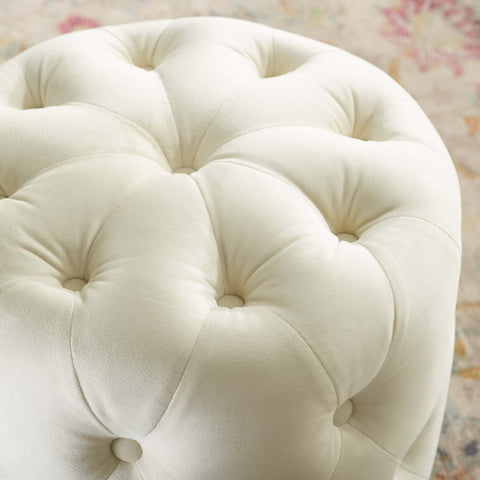 Amour Tufted Button Round Performance Velvet Ottoman