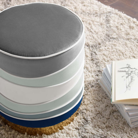 Image of Ribbon Round Performance Velvet Ottoman
