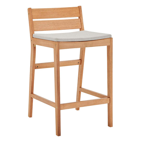 Image of Riverlake Outdoor Patio Ash Wood Bar Stool Set of 2