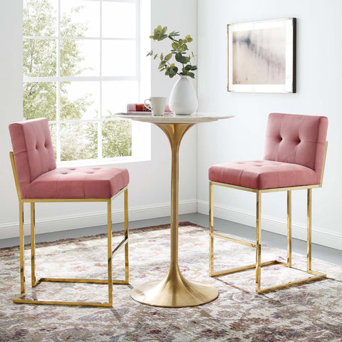 Image of Privy Gold Stainless Steel Performance Velvet Bar Stool Set of 2