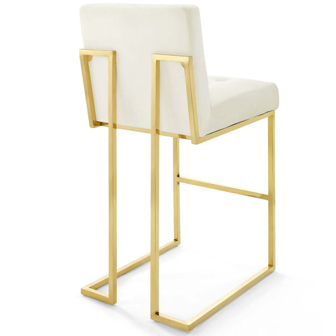 Privy Gold Stainless Steel Performance Velvet Bar Stool Set of 2