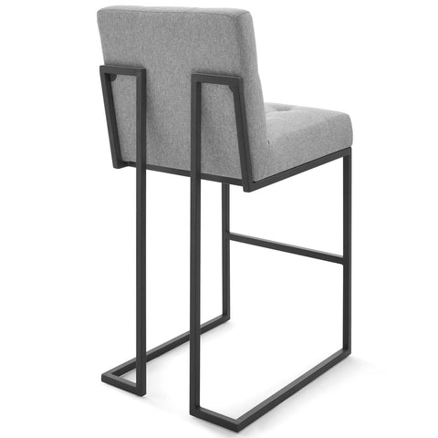 Privy Black Stainless Steel Upholstered Fabric Bar Stool Set of 2