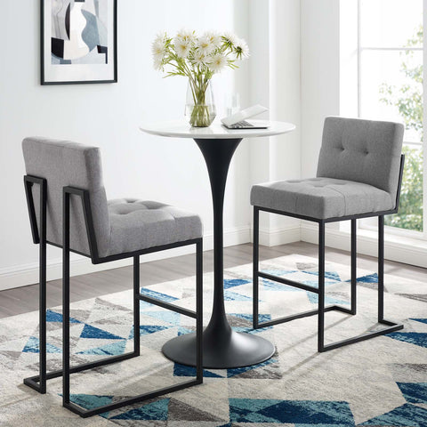 Image of Privy Black Stainless Steel Upholstered Fabric Bar Stool Set of 2