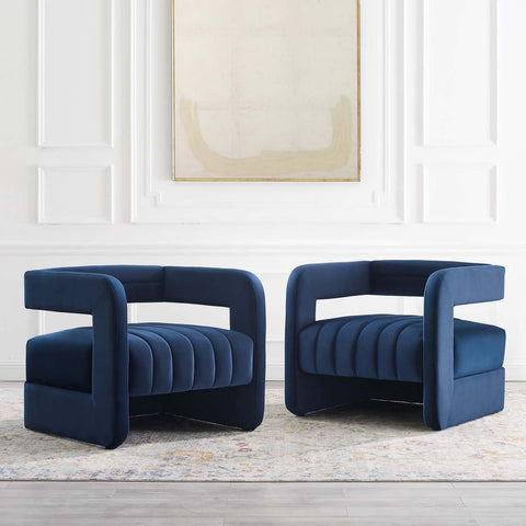 Image of Range Tufted Performance Velvet Accent Armchair Set of 2