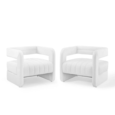 Range Tufted Performance Velvet Accent Armchair Set of 2