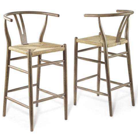 Amish Wood Bar Stool Set of 2