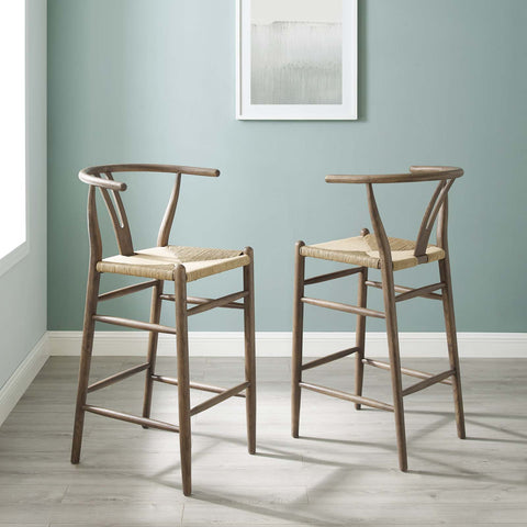 Image of Amish Wood Bar Stool Set of 2