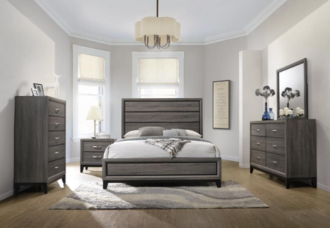 Image of Grey Oak Collection 4pc Bedroom Set