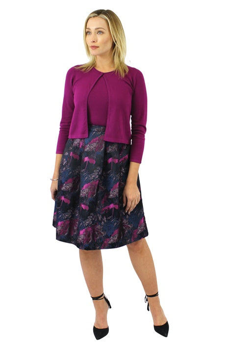 Flare skirt in magenta and peacock print