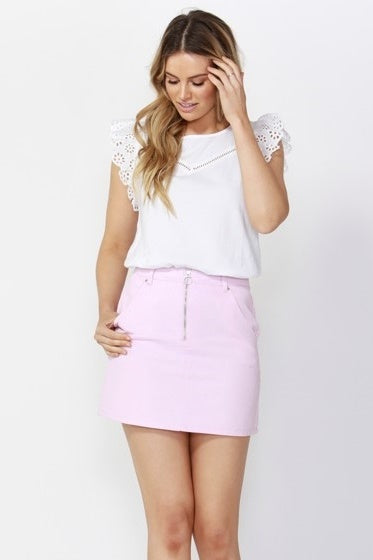 Vacation Zip Up Denim Skirt