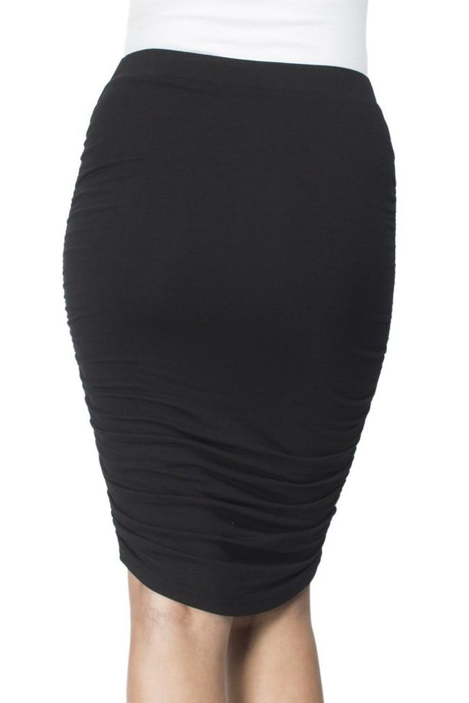 Maddison Ruched Black Skirt