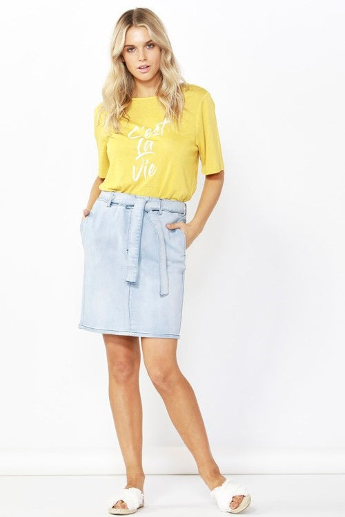 Archer Stretch Denim Skirt in Sky Blue