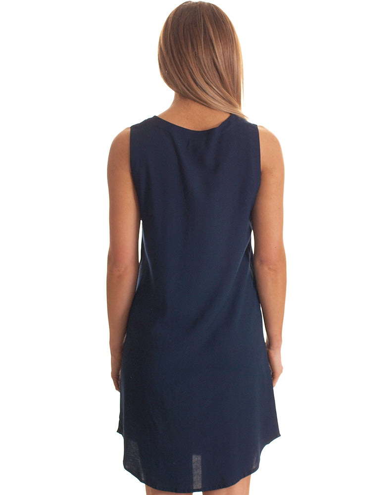 Cara Zip Dress in Navy