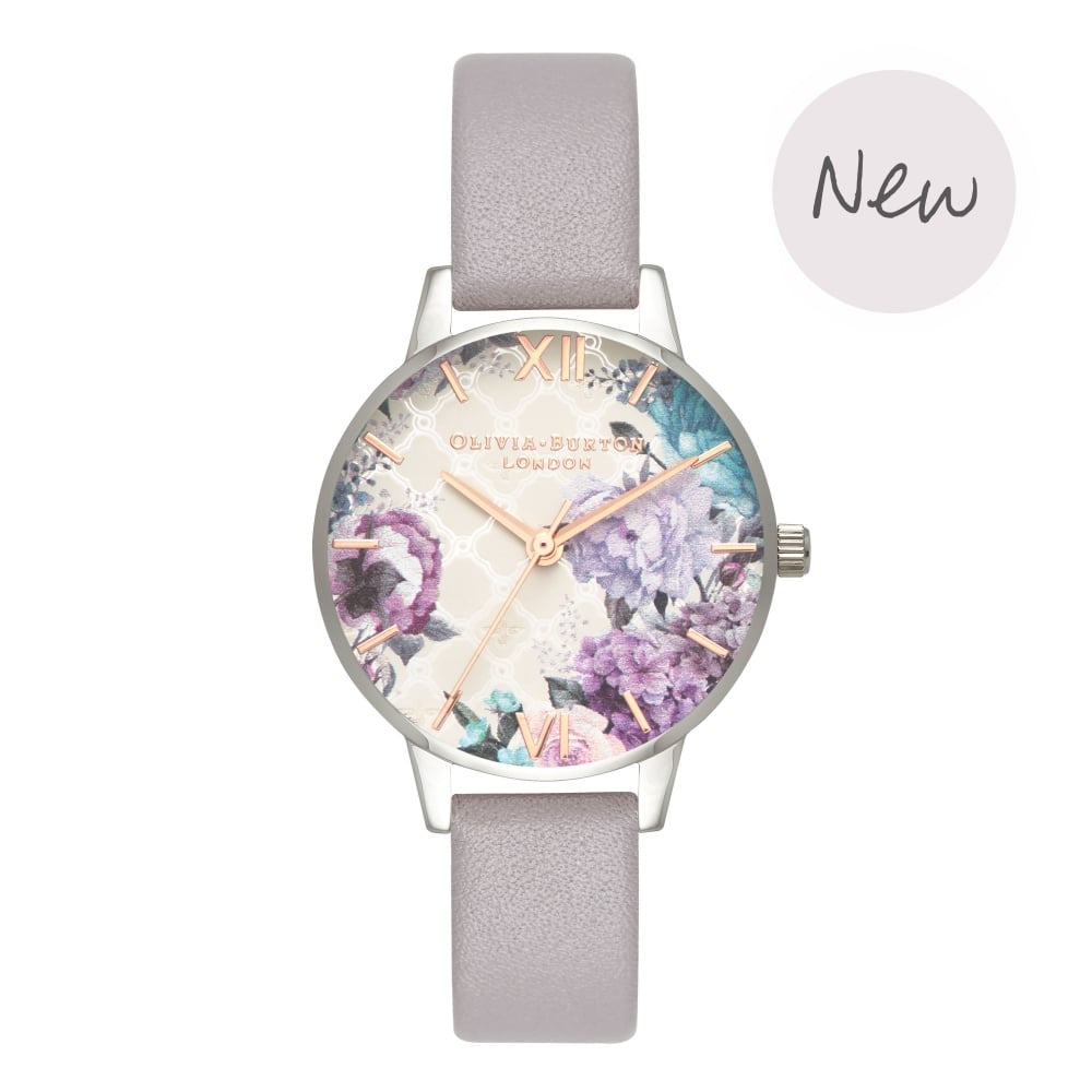 Olivia Burton Glasshouse Grey Lilac Rose Gold & Silver Watch
