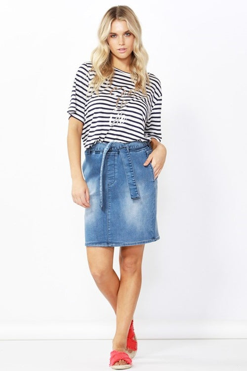 Archer Stretch Denim Skirt in Dark Indigo