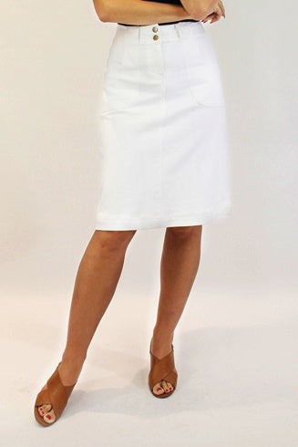 Isabel Denim Skirt  in White