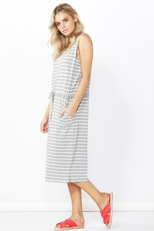 Jennifer Midi Dress in Silver Stripes