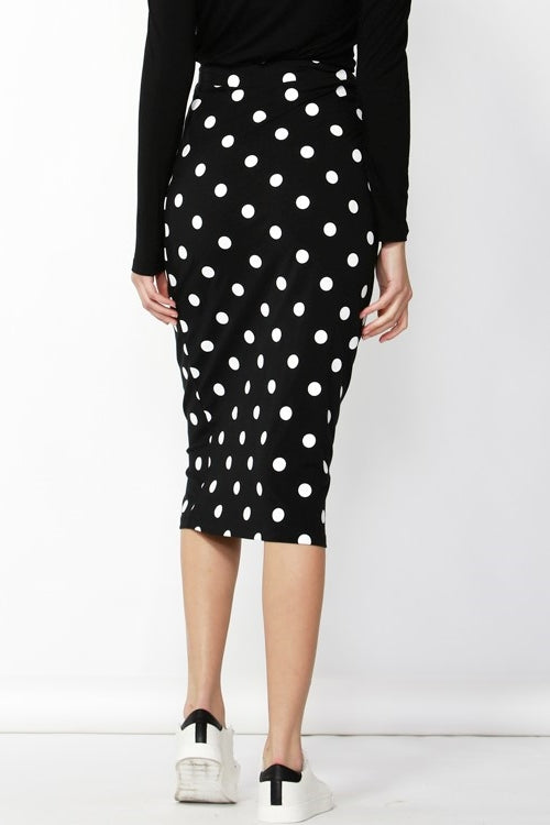 Gigi Skirt in Black & White Spots